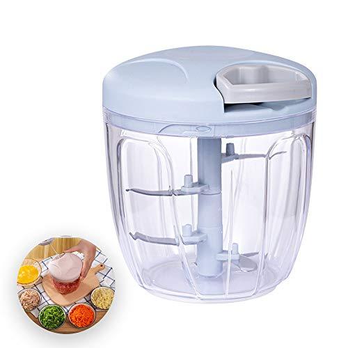 negaor Manual Food Chopper Manual Garlic Chopper Onion Chopper Garlic Mincer Hand Pull String Vegetable Processor 900ML for Onion Veggies Fruits Nuts Herbs Manual Garlic Chopper