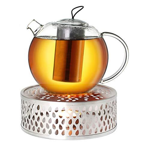 Creano Teekanne aus Glas 1,0l Jumbo + EIN Stövchen aus Edelstahl, 3-teilige Glasteekanne mit integriertem Edelstahl Sieb und Glasdeckel, ideal zur Zubereitung von losen Tees, tropffrei