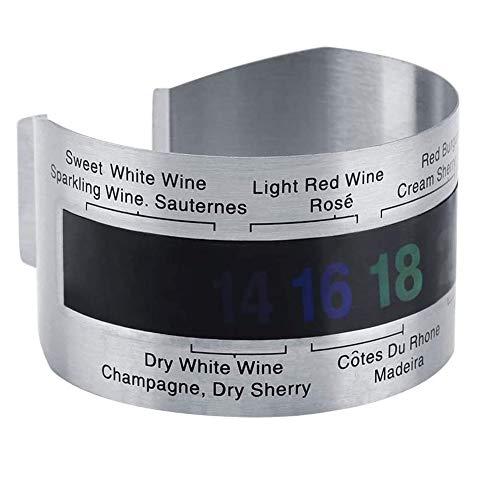 YFOX Weinthermometer aus Edelstahl,armbandförmiger Weintemperatursensor,praktisches Flaschenthermometer,geeignet für Wein,Sekt,Saft usw.(externes Weinthermometer)