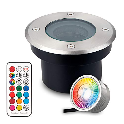 Flacher RGB Bodeneinbaustrahler mit tauschbarem LED Leuchtmittel - 11 Farben + Kaltweiß - IP67 - Edelstahl - 70mm