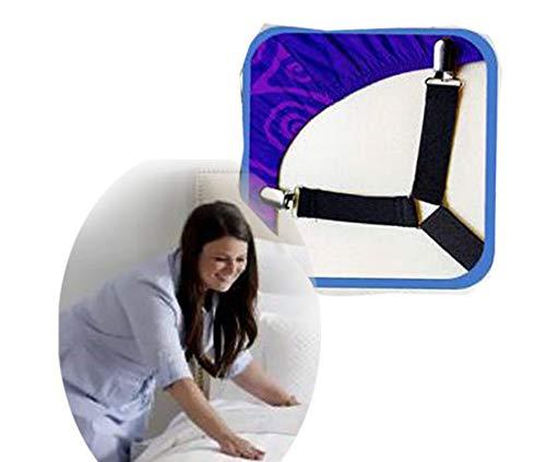 Premium Criss-Cross 2 Stück Gurt verstellbare elastische Bettlakenspanner, Bettlakenhalter, Bettlakenhalter, Bettlakenhalter, Hosenträger, Spanngurte, Spannbettlakenhaltergurte