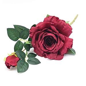 Enova Home Artificial Silk Open Rose Flower Spray Stem Set for Flower Arrangement Wedding Party Home Decoration (1, Burgundy)
