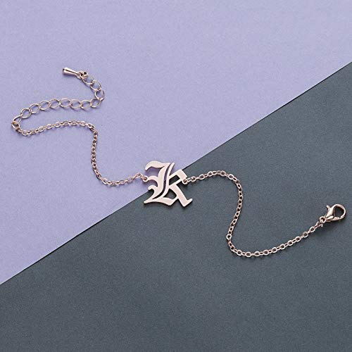 N/A Bracelet jewelry Stainless Steel Old English Letter Initial Bracelet Bangles for Women Multicolor Capital Alphabet Anklet Gift Charm Valentine's Day present