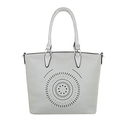 Ital-Design Damen-Tasche Große Handtasche Schultertasche Kunstleder Silber TA-9227