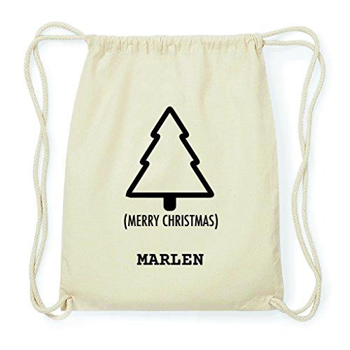 JOllify Turnbeutel Geschenk für Marlen Weihnachten Rucksack aus Baumwolle - Natur: Weihnachtsbaum