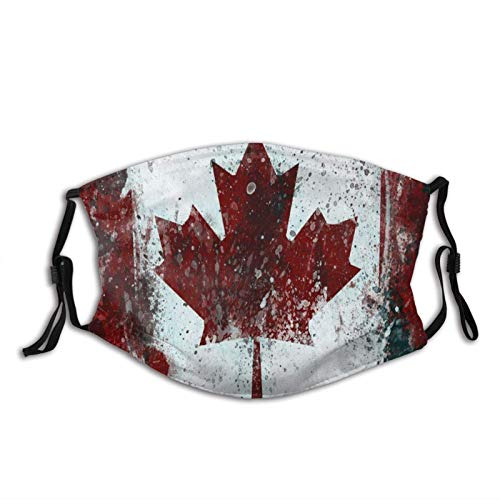 Mundschutz Canada Flag Maple Leaves Face with Filter Pocket Washable Reusable Face Bandanas Balaclava with 2 Pcs Filters
