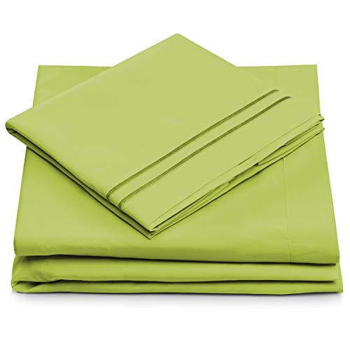 Twin XL Size Bed Sheets - Lime Green Twin Extra Long Bedding Set - Deep Pocket - Ultra Soft Luxury Hotel Sheets- Hypoallergenic - Cool & Breathable - Wrinkle, Stain, Fade Resistant - 3 Piece