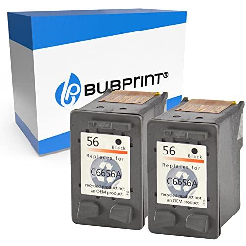 2 Bubprint Cartucce d inchiostro compatibili per HP 56 per DeskJet 5150 5550 5600 5650 5652 OfficeJet 5510 5605Z 5610 5615 PhotoSmart 7760 PSC 1110 1210 1215 1315 1315S 1350 Nero