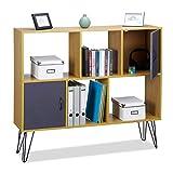 Relaxdays Regal Vintage, 6 Fächer, dekorative Holzoptik, 2 Türen, Metallbeine, Standregal, HxBxT 103 x 30 x 12 cm, braun