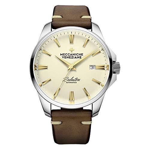 Meccaniche Veneziane Automatische Horloge Redentore 4.0 Champagne Wijzerplaat met Lederen Band