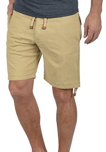 Indicode Moses Herren Leinenshorts Kurze Leinenhose Bermuda Mit Kordel Regular Fit, Größe:L, Farbe:Cornstalk (013)
