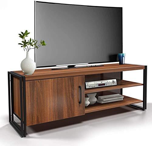 amzdeal Fernsehtisch TV Schrank für Fernseher bis zu 48 Zoll,TV Board mit Metallrahmen,TV Möbel Lowboard Tisch für Wohnzimmer,Fernsehschrank Holz,112x40x30cm,Dunkelbraun (112x40x30cm Type 1)