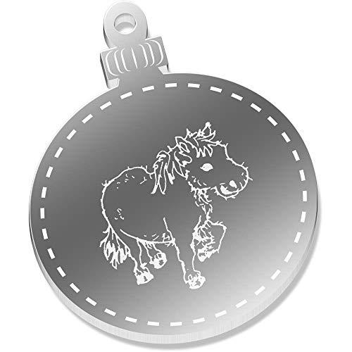 Azeeda 2 x 52mm 'Schäbiges Pony' Spiegel Weihnachtsdekoration (CB00011152)