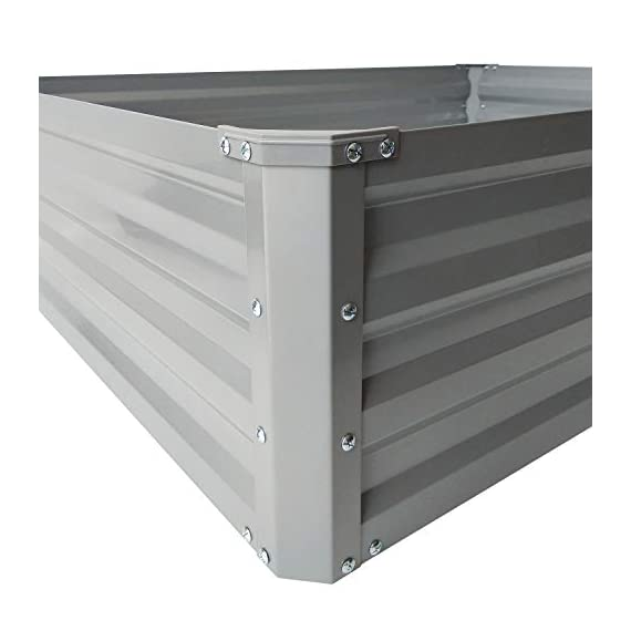 """zizin Galvanized Raised Garden Beds Kits Metal Elevated Planter Box Steel Vegetable Flower Bed Kit Bottomless for… 7 Anti-rust Galvanized Steel Planter Box: Metal raised garden bed Kit can stand the test of outdoor environment and time, not perishable and durable. Open-Bottom Garden Beds: Vegetable planter box prevents water from building up at its base,the root system of plants can grow naturally without any other restriction. Size: 47.2""""x35.4""""x11.8"""" (LxWxH), raised bed holds about 11 cubic feet soil, give the plants plenty of room to grow."""