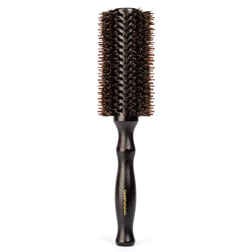 Boar Bristle Round Hair Brush - 2.2 Inch Diameter - Blow Dryer & Curling Roll Styling Hairbrush with Natural Wooden Handle for Women & Men - Used While Blow Drying to Style, Curl, and Dry Hair