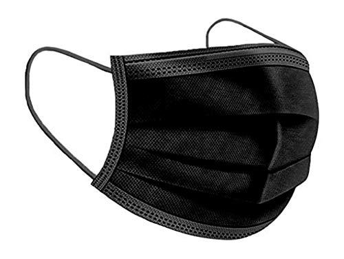 50 Masken Einweg Maske 3-lagig Mund und Nasenschutz Mundbedeckung Behelfsmaske Mundschutz 172 Schwarz