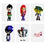 PAPRING Set 6 Teen Titans Go Toys 2-3 inch Beast Boy Doom Patrol Silkie Small PVC Action Figure Mini Model Figure Christmas Halloween Birthday Gift Cute Doll Collectible for Kids Adults