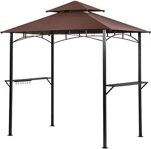 Grill Gazebo Shelter BBQ Canopy Tent w/Air Vent Double Tiered UV Resistant Shelter Steel Frame with Two Bar Counters and Cooking Tools Hookers for Patio and Backyard