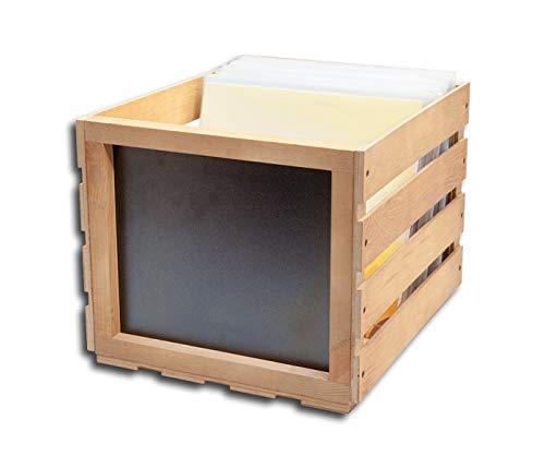 Protected Schallplatten Holzbox mit Kreidetafel hell