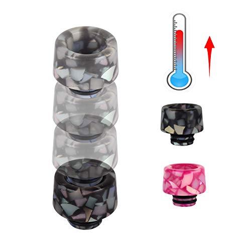Wolfteeth Color de cambio de temperatura térmica 510 Boquilla de Punta de Goteo de resina para atomizador RDA cigarrillo electrónico Sin Nicotina Ni Tabaco 125602(Sakura Negro)