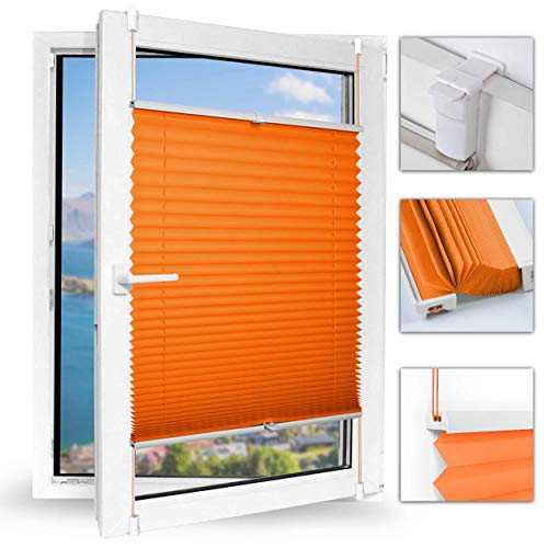 Achollo Plissee Jalousie klemmfix ohne Bohren Rollo 40 x 130cm (BxH) (Orange) Seitenzugrollo Faltrollo Plisseerollo Sonnenschutz leicht zu montieren & Verspannt