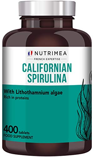 Natural Spirulina 200 x 500mg - Spirulina 40% - Rich in Protein - Recommended for Athletes and Fitness - Strengthens Hair and Nails - French Expertise