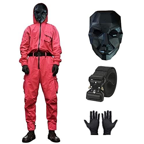 Squid Game Traje, Squid Game Mask Man Cosplay Squid Game Jumpsuit, Squid Game Cosplay Disfraz con Cinturón + Guantes+ Máscaras, Moda Rastreo de Ocio, Disfraz de Halloween Unisex Navidad 4 Piezas