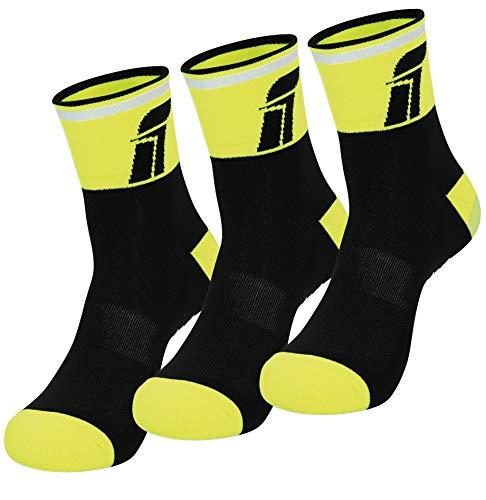 Fast Cycles - Confezione da 3 paia di calzini traspiranti per ciclismo e corsa, per uomo e donna, per mountain bike, spinning, fitness, tennis, jogging e corsa, colore: giallo/nero