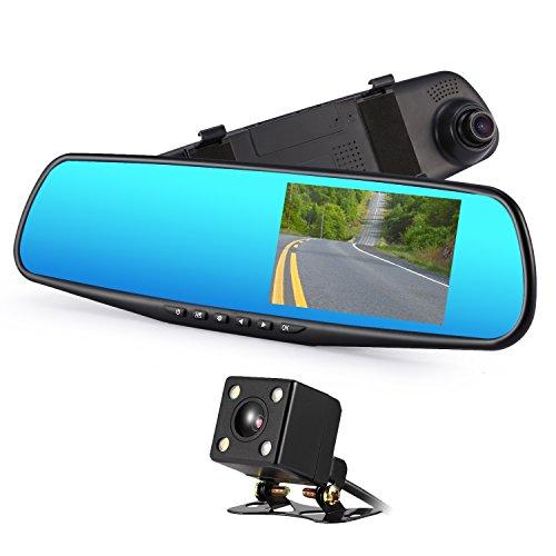 Dual Lens Dash Cam, Mirror Camera Car Dashboard, LESHP 4.3 Inch LCD Dual Lens DVR Video Recorder TFT Rearview Monitor Screen G-Sensor Waterproof for Car Backup Camera HD 1080P