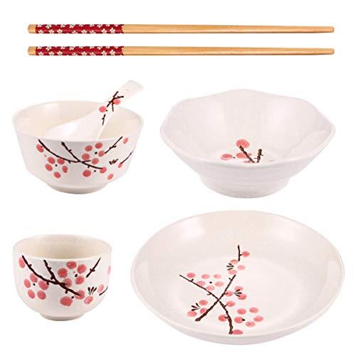 Angoily Juego de Vajilla de Cerámica Japonesa Platos de Cerámica Plato Cuchara Palillos Taza Conjunto de Regalos Japoneses Rojo