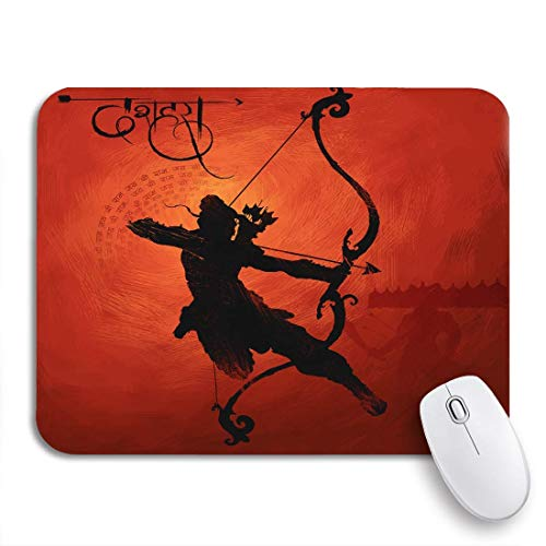 Mausepad Lord Arrow Killing Im Festival Indien Hindi Text 2 Größen Soft Slip Vintage Durable Mousepad Office Gedruckte Mausmatte Gummi Backing Computers Spielmatte Diy Special 25X30cm