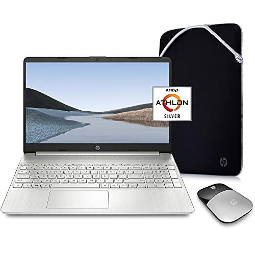HP Pavilion Laptop (2021 Latest Model), AMD Athlon 3050U Processor, 16GB RAM, 256GB SSD, Long Battery Life, Webcam, HDMI, Bluetooth, WiFi, Silver, Win 10 + Oydisen Cloth