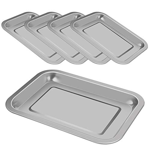 5 Pack Surgical Tray, Stainless Steel Medical Tray Dental Procedure Lab Instruments, Tattoo Tool Bathroom Organizer (10.43'' x 7.67'')