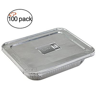 TigerChef Durable Aluminum Oblong Foil Cake Pan Containers with Foil Lids