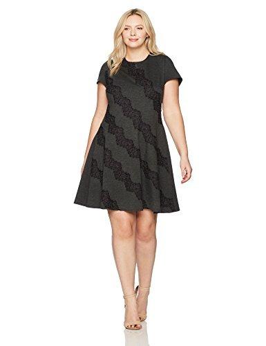 Eliza J womensEJ7W6176Plus Size Cap Sleeve Fit & Flare Dress Short-Sleeve Dress - Gray - 22 Plus