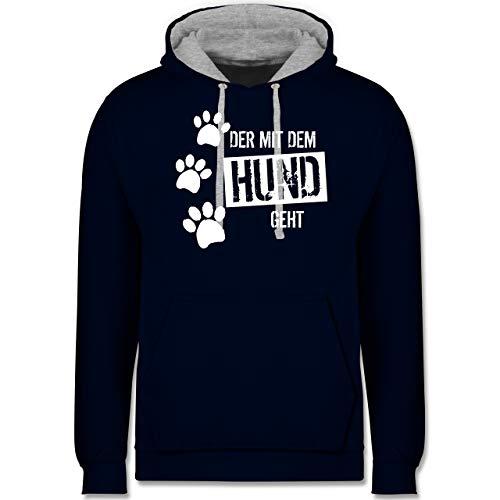 Shirtracer Hunde - Der mit dem Hund geht - XXL - Navy Blau/Grau meliert - Pulli Hundebesitzer - JH003 - Hoodie zweifarbig und Kapuzenpullover für Herren und Damen