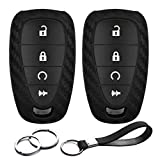 2pcs Compatible with 2020 2019 GMC Chevy Smart 4 Buttons Chevrolet Cruze Equinox Sonic Traverse Trax Volt Bolt EV Carbon Fiber Looks Silicone FOB Key Case Cover Protector Keyless Entry Remote Holder