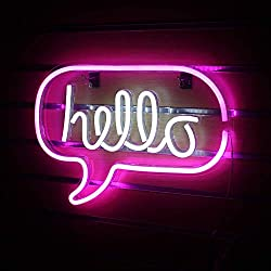 Hello Neon Signs for Wall Decor, USB Operated LED Neon Lights for Man Cave, Bedroom, Bathroom, Bar, Party, Christmas Gifts, Cute Night Light Lamp(Hanging Hole&Acrylic Backboard)