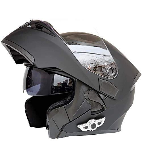 Cascos Integrales Bluetooth para Motocicleta Sistema Comunicación De Intercomunicación Integrado Integrado, Casco Modular Abatible hacia Arriba con Doble Visera Antivaho Motocross,Negro,L
