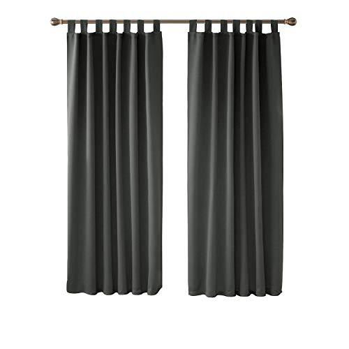 Deconovo Cortina Opaca para Ventana Dormitorio Juvenil para Habitacion Matrimonio Estilo Moderno Elegante con Trabillas 2 Paneles 117 x 183 cm Gris Oscuro