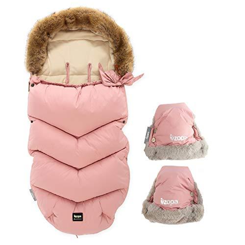 ZOPA Luxus Winter Fusak FLUFFY mit Fell mit Handschuhen - universell Fußsack fussack für Kinderwagen Buggy (Old Pink)