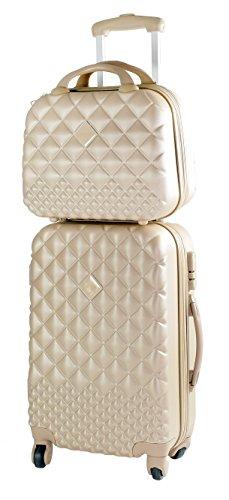 CAMOMILLA Milano Gepäck-Set, Koffer-Set, Handgepäck (40 l) + Kosmetikkoffer (15 l), Hartschalen, 360° drehbare Rollen, 3-stelliges Zahlenschloss, Farbe Golden
