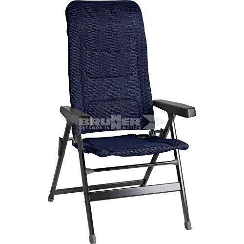 Brunner 0404002N.C51S Rebel Pro (S-M-L) Silla Plegable de Camping, jardín, terraza de Aluminio, Regulable en 5 Posiciones, con Capacidad de Carga hasta 150 kg, Respaldo Alto, Negro, Azul Noche, S