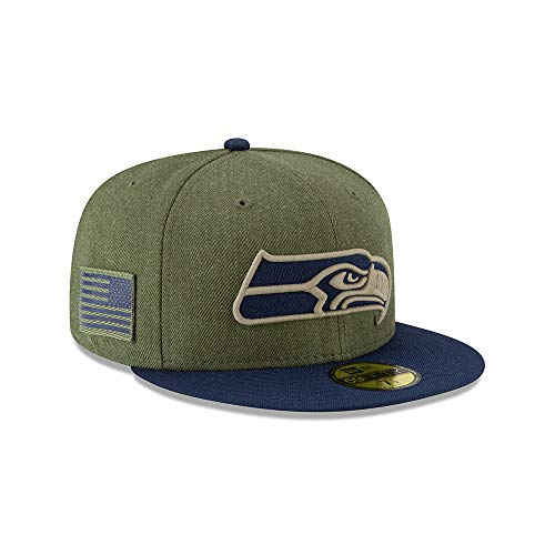 New Era Seattle Seahawks On Field 18 Salute to Service Cap 59fifty 5950 Fitted Limited Edition, Green, 7 1/8 - 57cm (M)