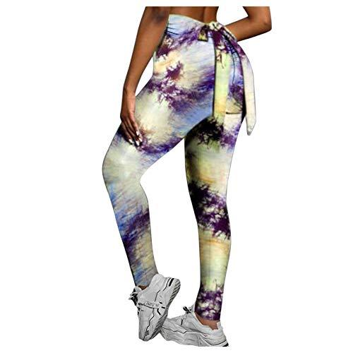 Leggings Deportivos de Estampado Integral con Bowknot Pantalones de Deporte Pantalón Push up de Cintura Alta Leggins Transpirables Elásticos Mallas de Yoga para Correr Gym Fitness