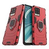 FTRONGRT Realme 8 PRO Cover,Hybrid Dual Layer TPU+PC Custodia, Durevole Manicotto Protettivo Antiurto,con Supporto per Cellulare,per Realme 8 PRO-Rosso