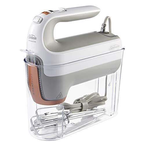 Oster 270-Watt Hand Mixer with HEATSOFT Technology | 7 Speeds | Includes Whisk, Dough Hooks, and Storage Case