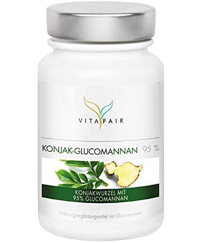 Glucomannan - 3000mg Konjakwurzel pro Tag - 120 Kapseln - 95% - Hochdosiert - Vegan - Ohne Magnesiumstearat - German Quality