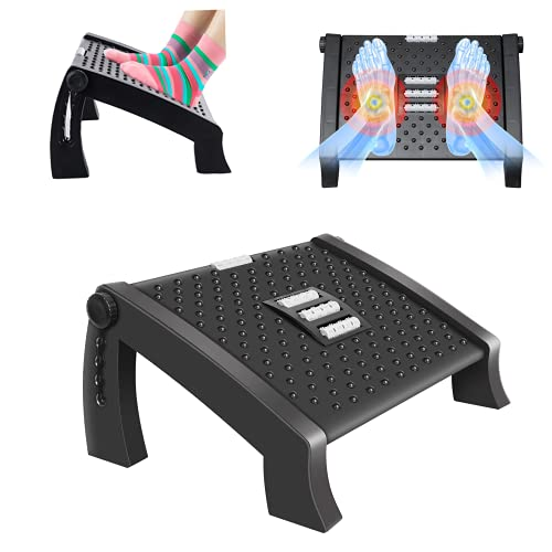 Redflower Office Foot Rest for Under Desk - Adjustable Foot Rest with Massage Texture and Roller, Ergonomic Foot Rest with 6 Height Position, for Home, Office, School, Black