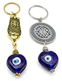 Jaz Design House's Combo of 'Ganesha' & Sri Yantra' Evil Eye Key Ring/Key Chain-Buri Nazar-Buri Drishti for Home/Car/Scooter/Byke-Negative Vibes-Accident Protection-Good Luck & Prosperity Enhancer